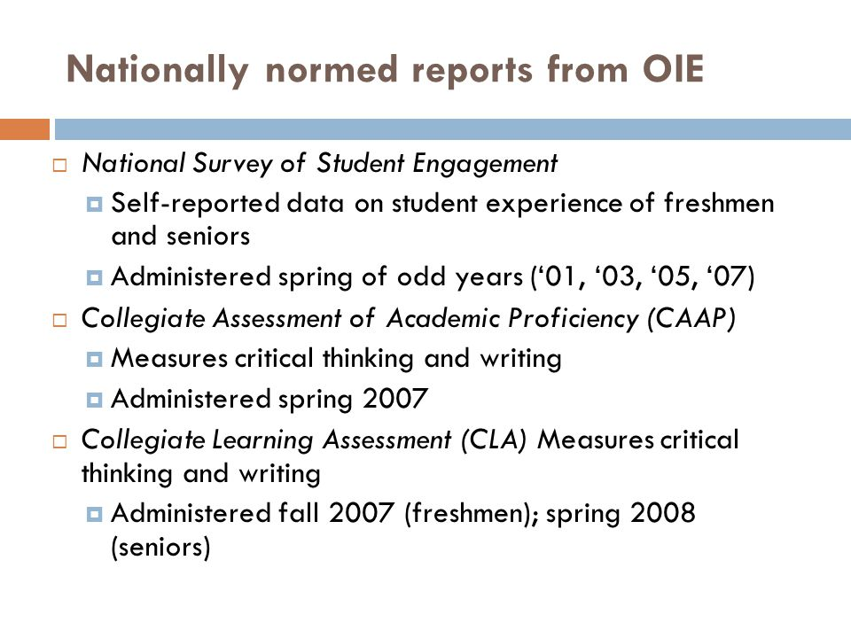 Nationally normed reports from OIE