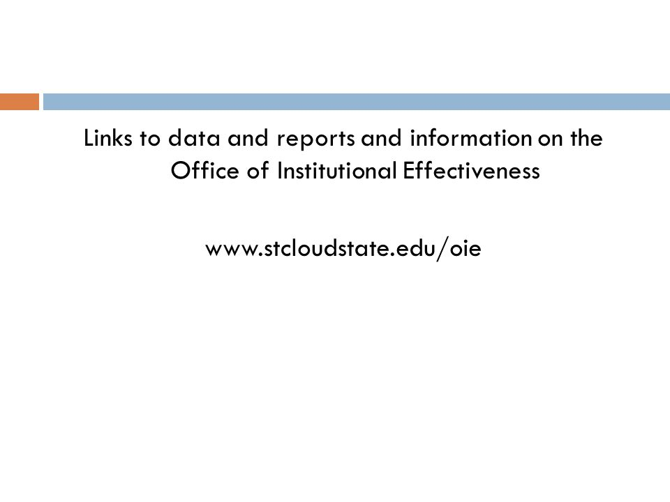 Links to data and reports and information on the Office of Institutional Effectiveness