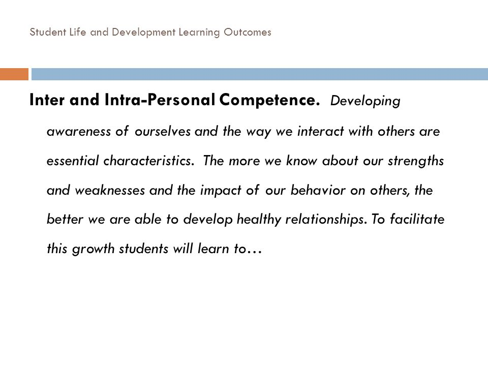Student Life and Development Learning Outcomes