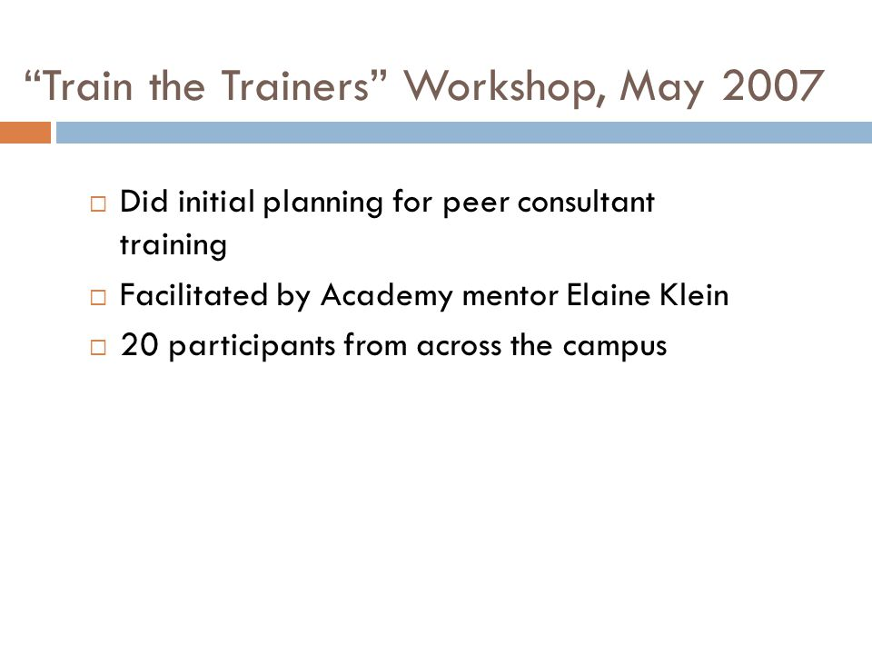 Train the Trainers Workshop, May 2007