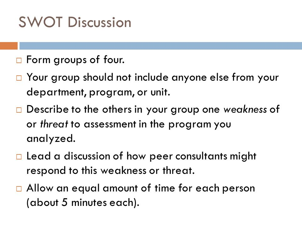 SWOT Discussion Form groups of four.
