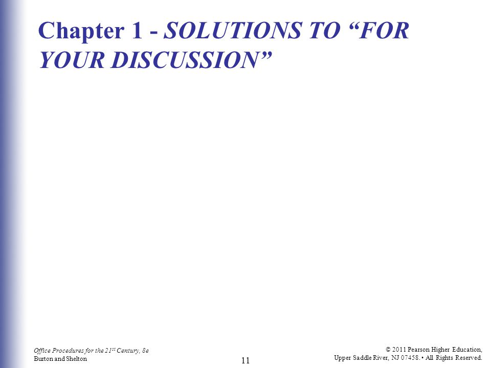 Chapter 1 - SOLUTIONS TO FOR YOUR DISCUSSION