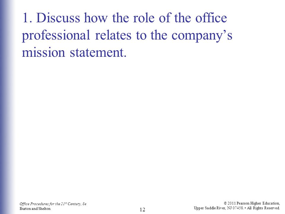 1. Discuss how the role of the office professional relates to the company's mission statement.