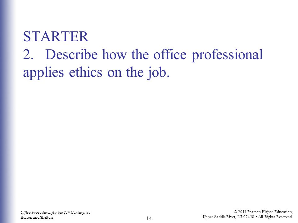 STARTER 2. Describe how the office professional applies ethics on the job.