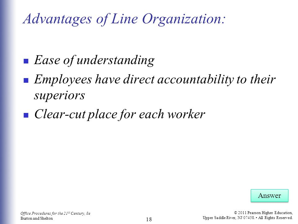 Advantages of Line Organization: