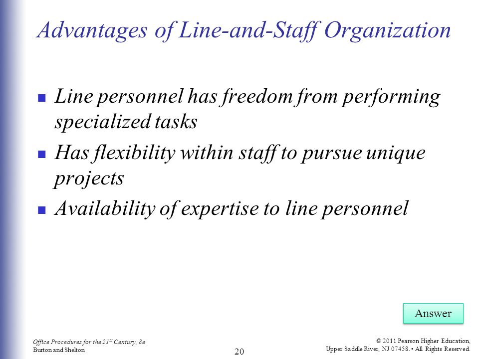 Advantages of Line-and-Staff Organization