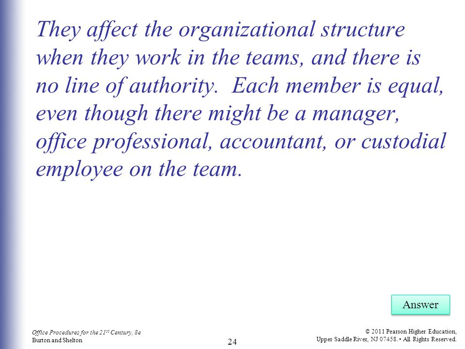 They affect the organizational structure when they work in the teams, and there is no line of authority. Each member is equal, even though there might be a manager, office professional, accountant, or custodial employee on the team.