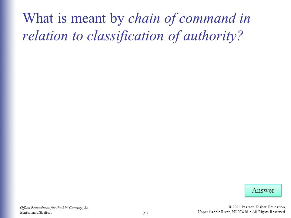 What is meant by chain of command in relation to classification of authority