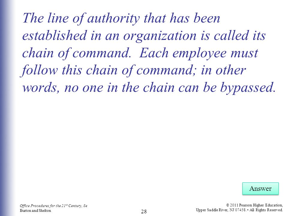 The line of authority that has been established in an organization is called its chain of command. Each employee must follow this chain of command; in other words, no one in the chain can be bypassed.