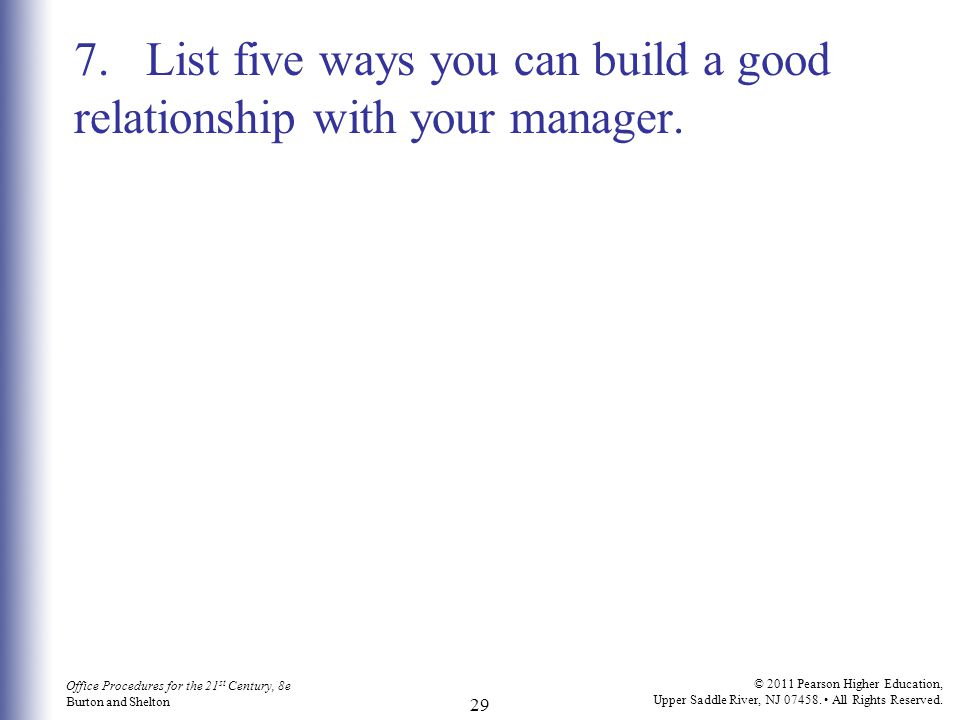 7. List five ways you can build a good relationship with your manager.