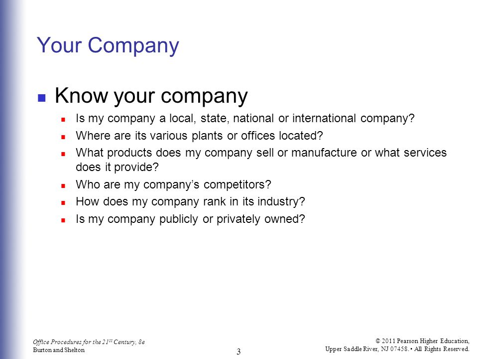 Your Company Know your company