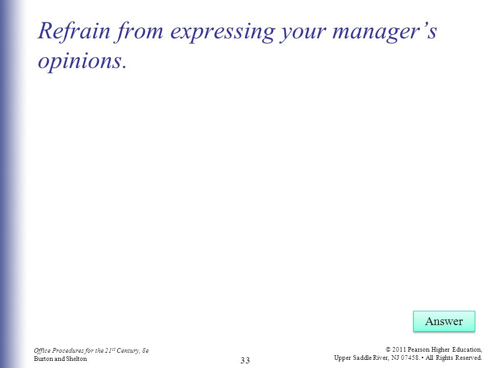 Refrain from expressing your manager's opinions.