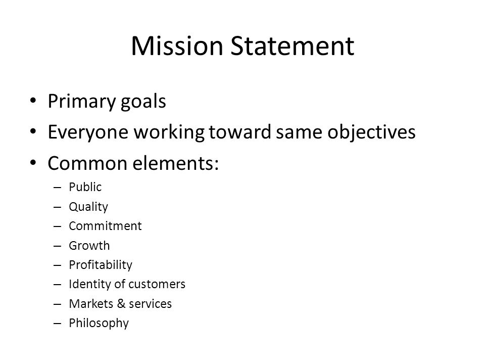 Mission Statement Primary goals