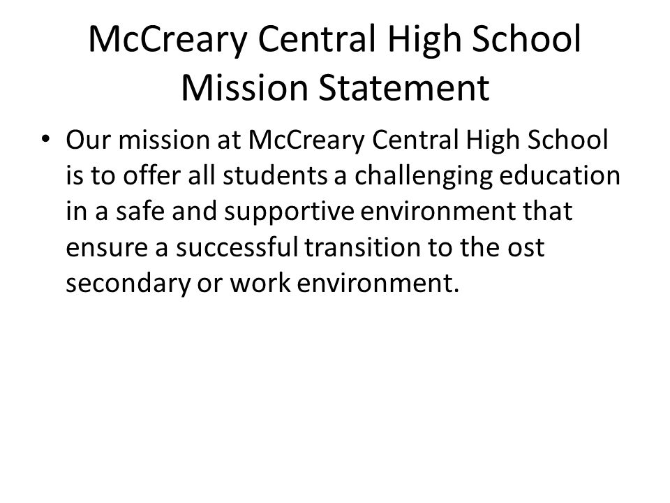 McCreary Central High School Mission Statement
