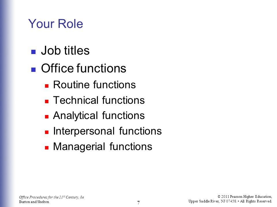 Your Role Job titles Office functions Routine functions