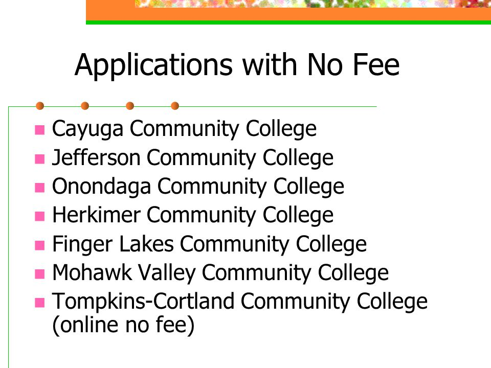 Applications with No Fee