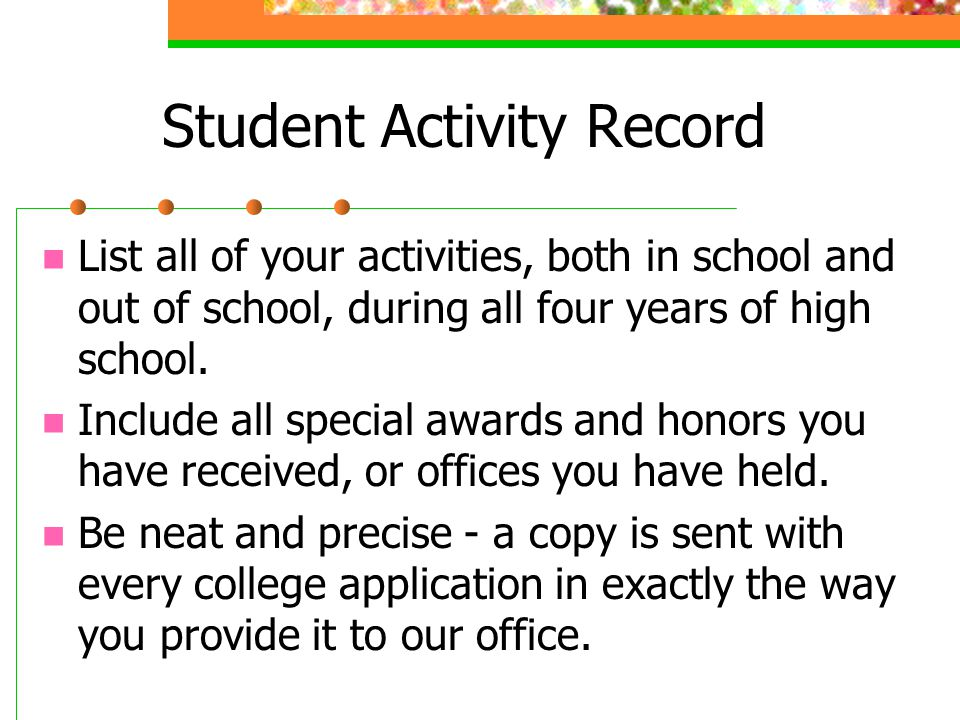 Student Activity Record