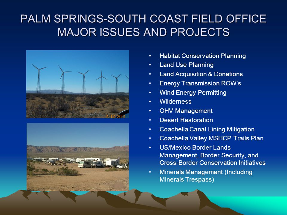PALM SPRINGS-SOUTH COAST FIELD OFFICE MAJOR ISSUES AND PROJECTS