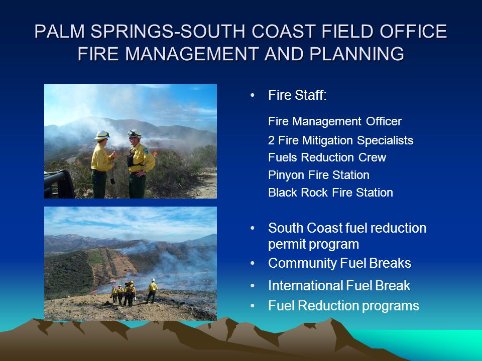 PALM SPRINGS-SOUTH COAST FIELD OFFICE FIRE MANAGEMENT AND PLANNING