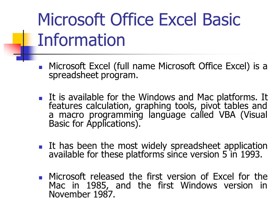 Microsoft Office Excel Basic Information