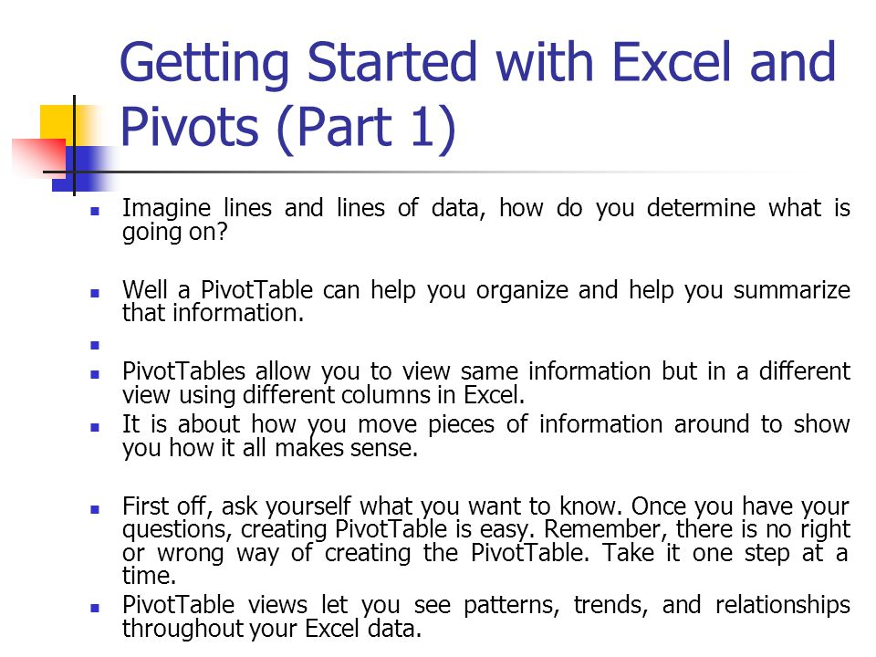 Getting Started with Excel and Pivots (Part 1)