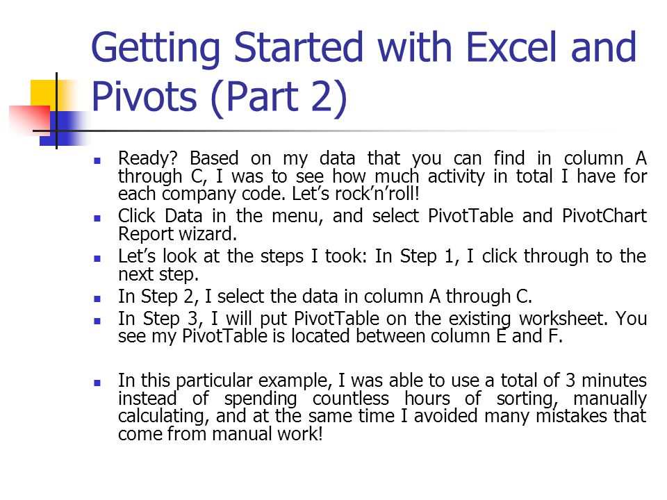 Getting Started with Excel and Pivots (Part 2)