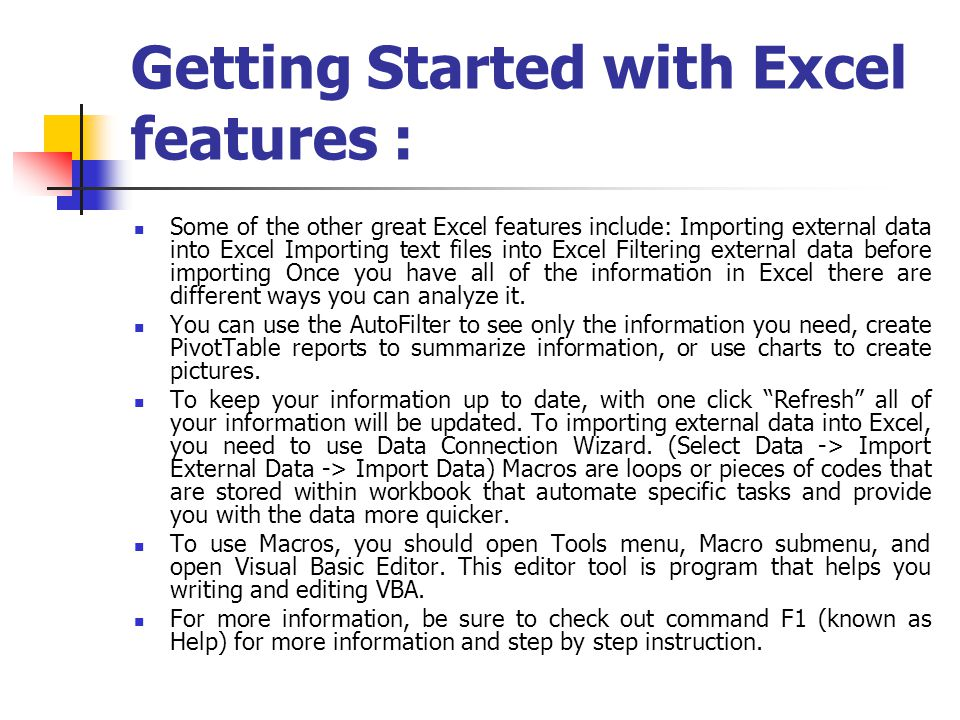 Getting Started with Excel features :