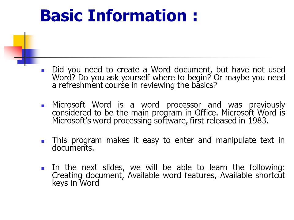 Basic Information :