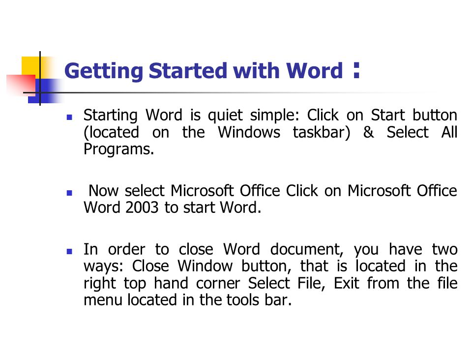 Getting Started with Word :