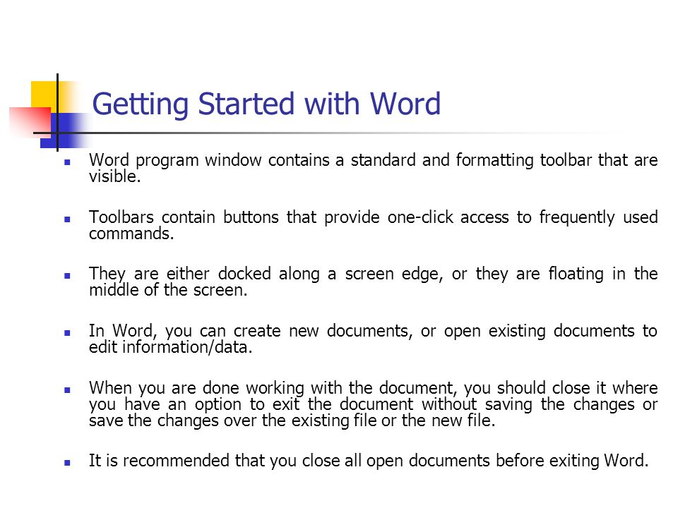 Getting Started with Word