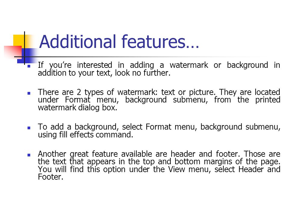 Additional features… If you're interested in adding a watermark or background in addition to your text, look no further.