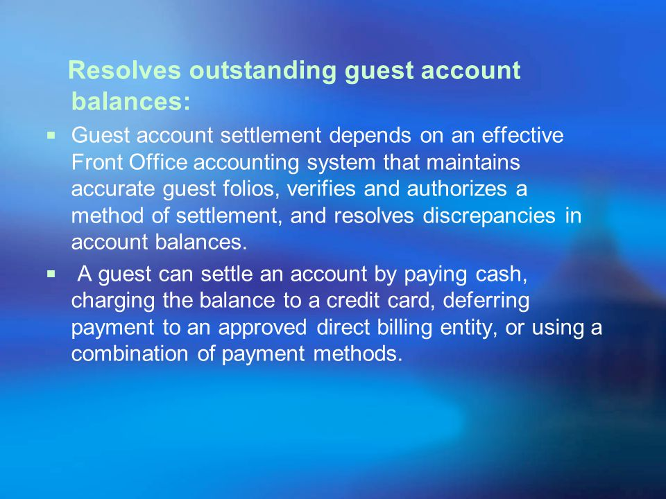 Resolves outstanding guest account balances: