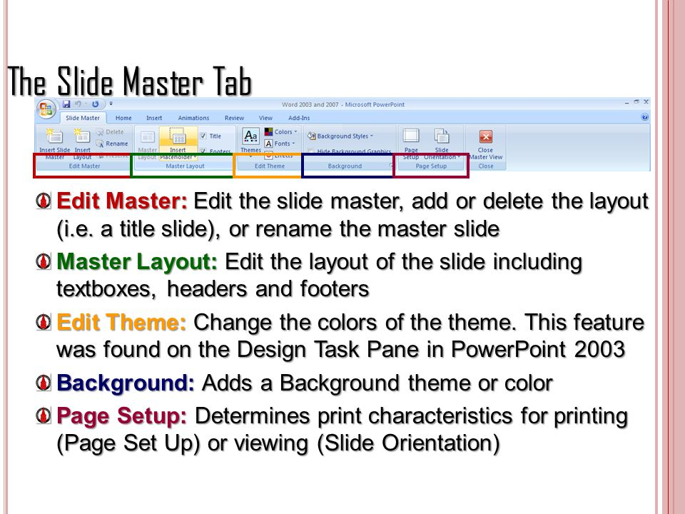 The Slide Master Tab Edit Master: Edit the slide master, add or delete the layout (i.e. a title slide), or rename the master slide.