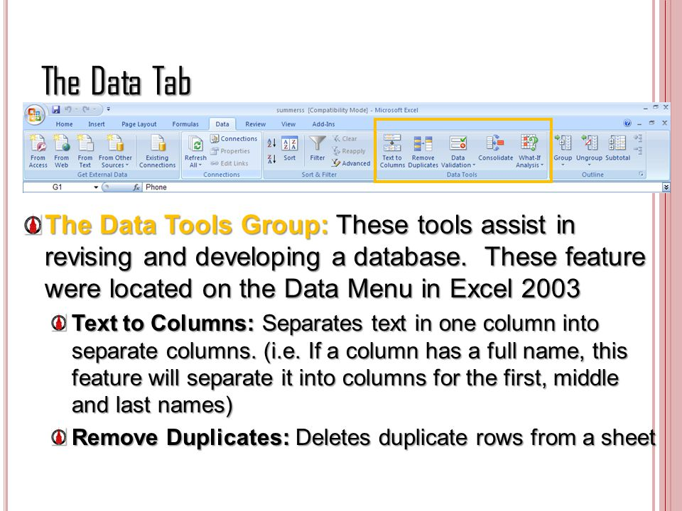 The Data Tab