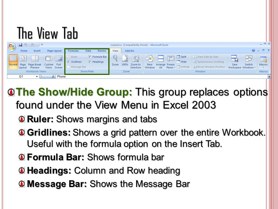 The View Tab The Show/Hide Group: This group replaces options found under the View Menu in Excel 2003.