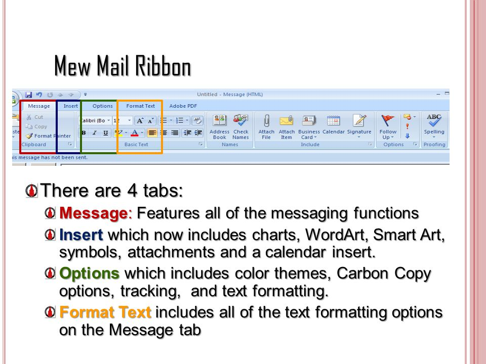 Mew Mail Ribbon There are 4 tabs:
