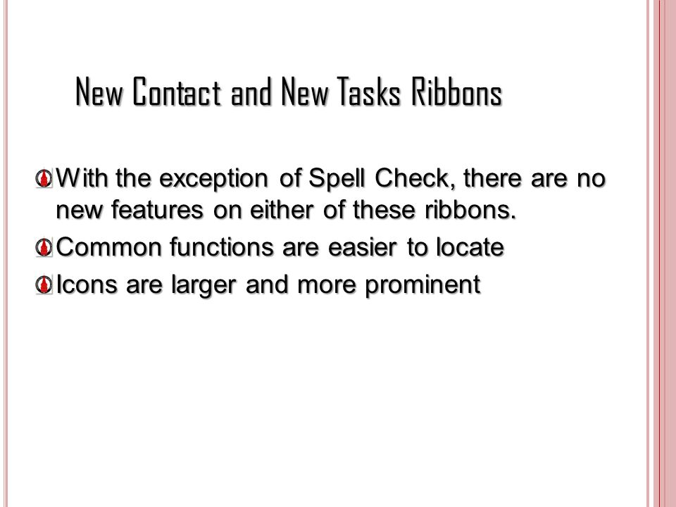 New Contact and New Tasks Ribbons