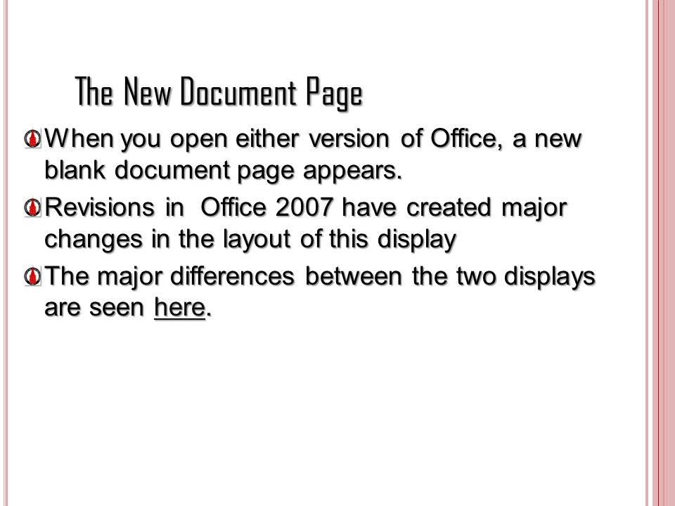 The New Document Page When you open either version of Office, a new blank document page appears.