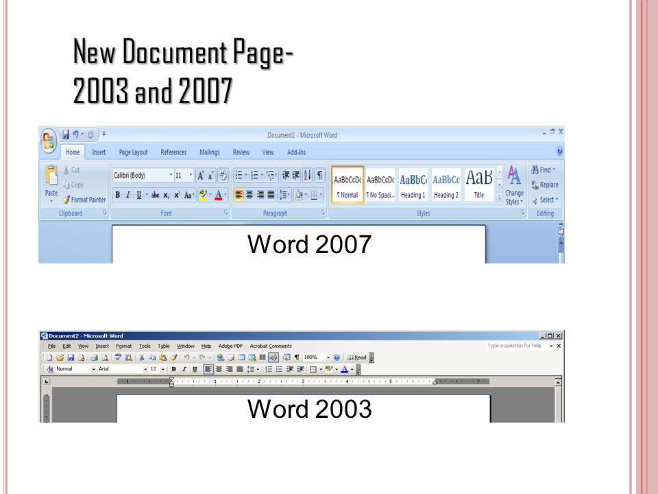 New Document Page and 2007 Word 2007 Word 2003