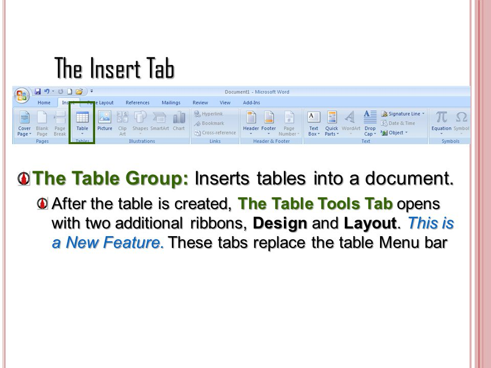 The Insert Tab The Table Group: Inserts tables into a document.