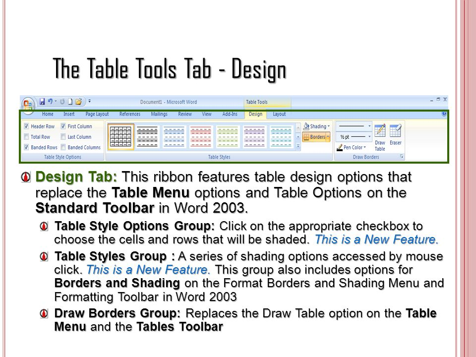 The Table Tools Tab - Design