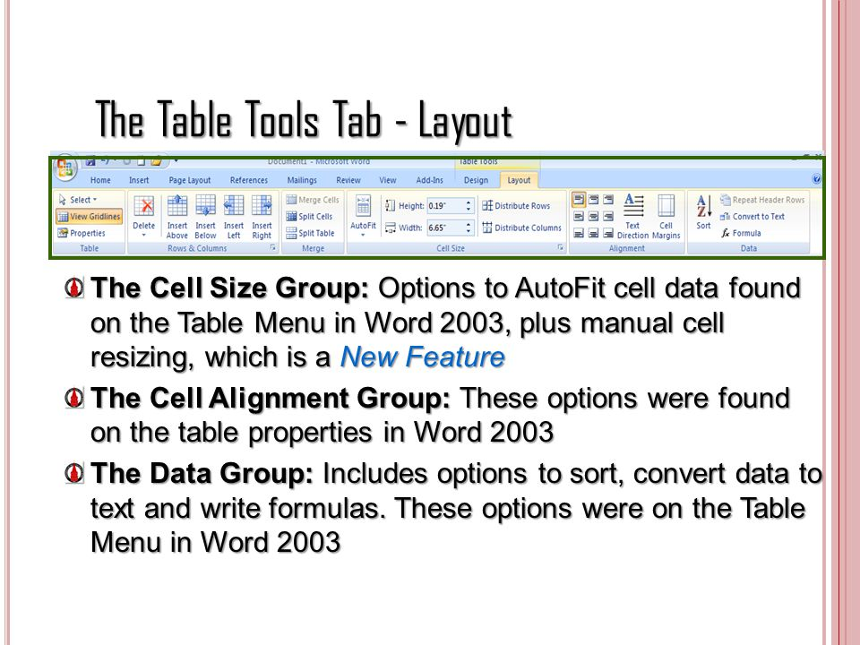 The Table Tools Tab - Layout