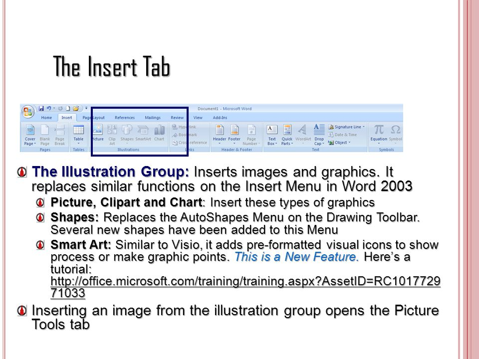 The Insert Tab The Illustration Group: Inserts images and graphics. It replaces similar functions on the Insert Menu in Word 2003.