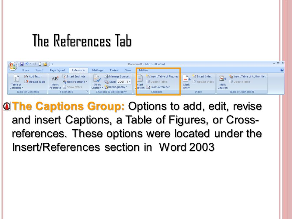 The References Tab