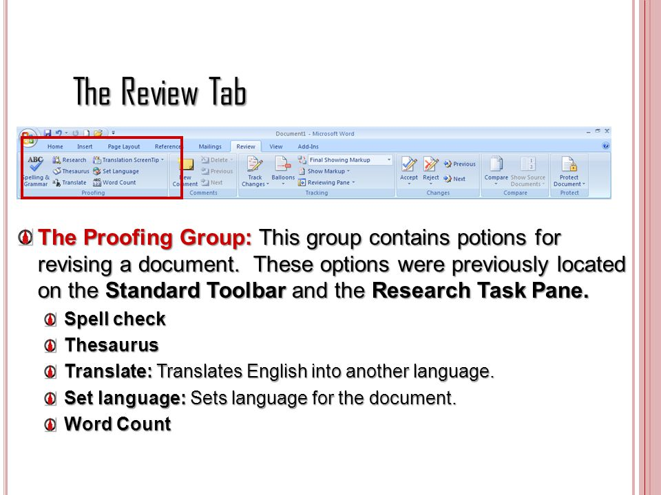 The Review Tab