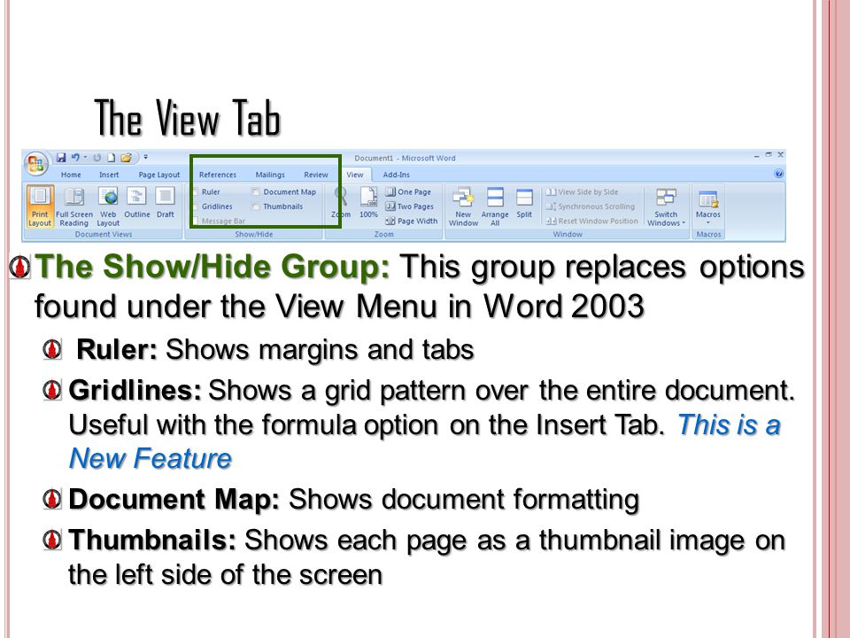 The View Tab The Show/Hide Group: This group replaces options found under the View Menu in Word 2003.