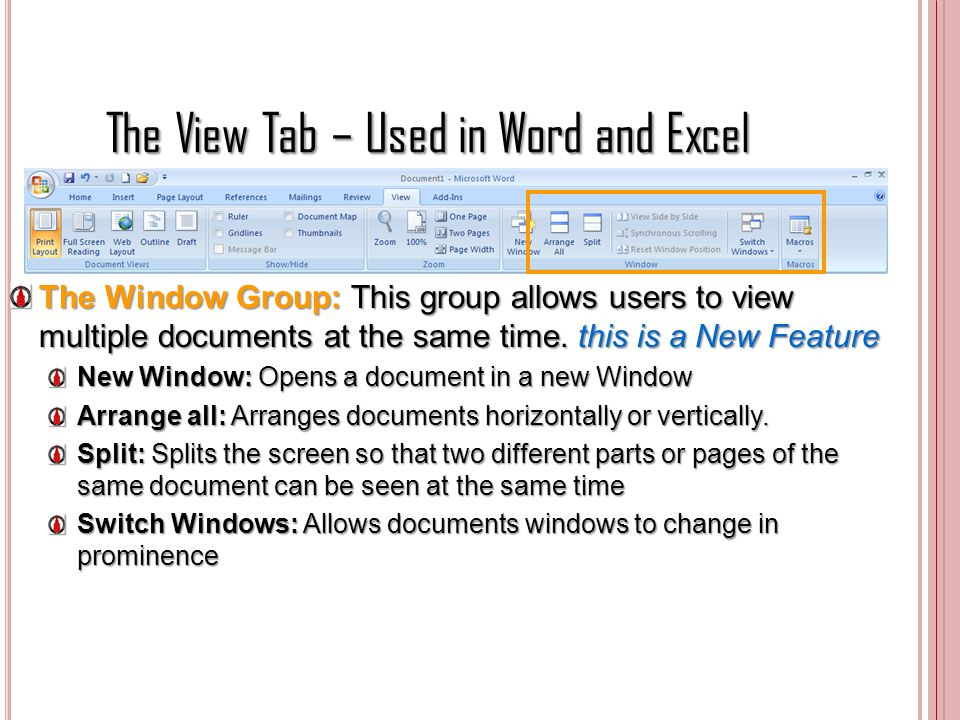 The View Tab – Used in Word and Excel