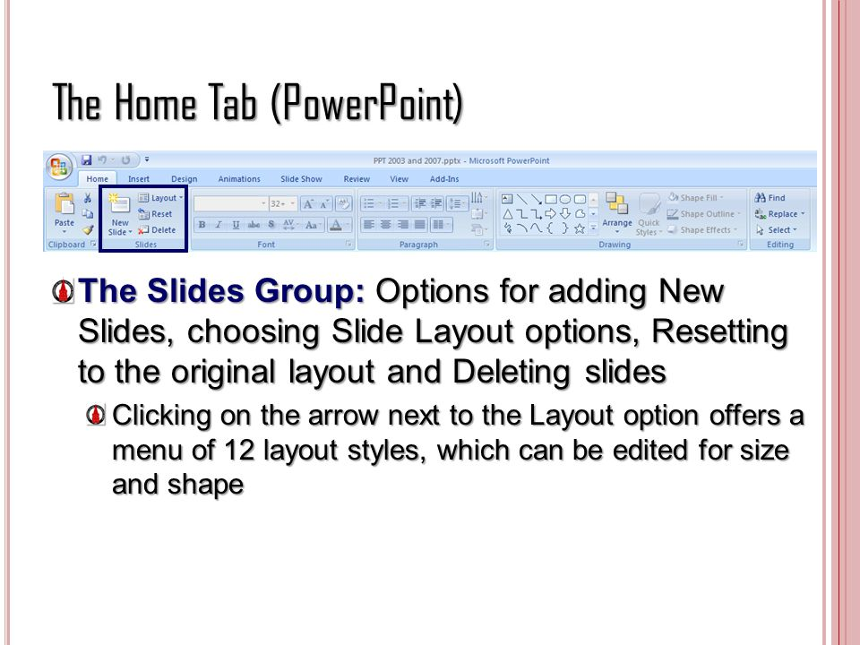 The Home Tab (PowerPoint)