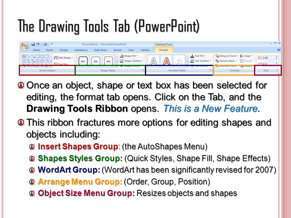 The Drawing Tools Tab (PowerPoint)