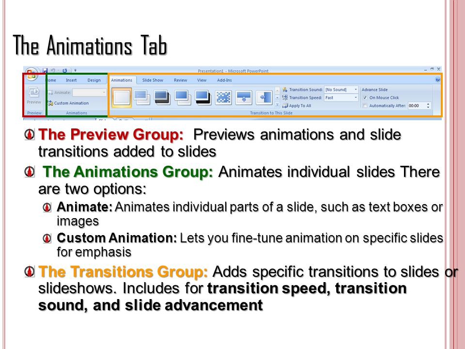 The Animations Tab The Preview Group: Previews animations and slide transitions added to slides.
